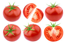 Tomatoes Isolated. Fresh Cut Tomato Set Isolated On White Background With Clipping Path