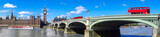 Fototapeta Londyn - London panorama with red buses on bridge against Big Ben in England, UK