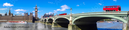 Aluminium Prints London red bus London panorama with red buses on bridge against Big Ben in England, UK