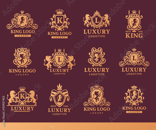 Fotografie, Obraz Luxury boutique Royal Crest high quality vintage product heraldry logo collection brand identity vector illustration