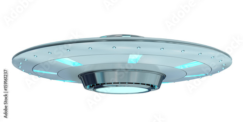 Garden Poster UFO Vintage UFO isolated on white background 3D rendering