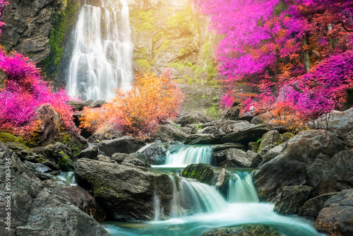 Recess Fitting Waterfalls Waterfall in autumn forest
