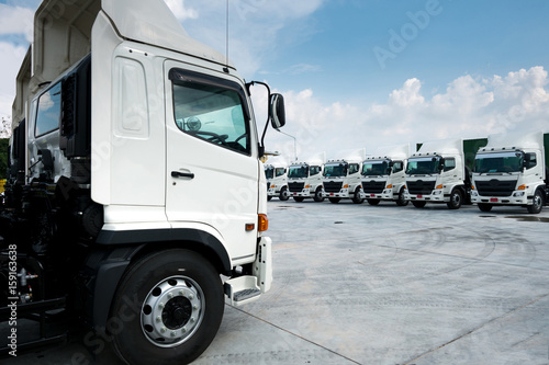 Truck fleet in depot. Canvas Print