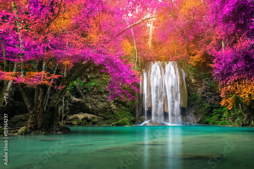Aluminium Prints Waterfalls Waterfall in autumn forest