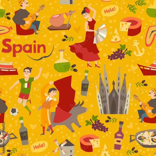 Spanish landmark pattern vector background Hand draw backdrop with New Pattern In Spanish