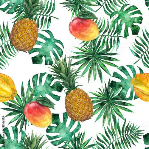 Seamless pattern with pineapple, mango, starfruit, carambola and leaves. Tropical, exotic, fashion. Watercolor, hand drawn