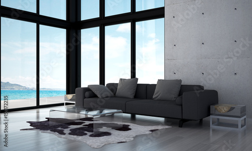 Foto op Aluminium Luchthaven The interior design of modern living room and concrete wall and sea view