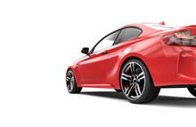 Back Of A Red Luxury Car Isolated On A White Background