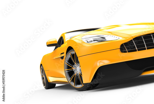 Fotobehang Snelle auto s Yellow sport car isolated on a white background