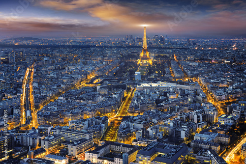 Poster Paris Aerial view of Paris at night