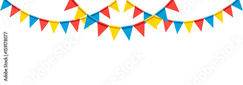 Fotografia  Colorful paper bunting party flags isolated on white background