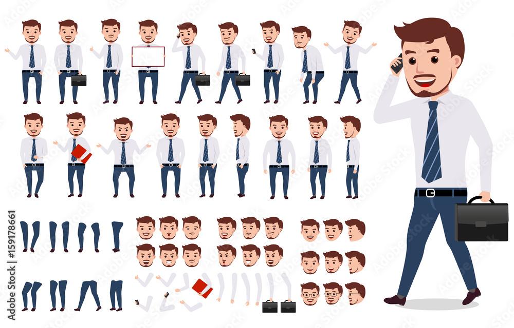 Zestaw do tworzenia postaci biznesowych człowieka. Męski wektorowy charakter chodzi i jest ubranym formalnego biurowego ubiór z gestami, pozami i twarzami odizolowywającymi w bielu ,. Ilustracji wektorowych.