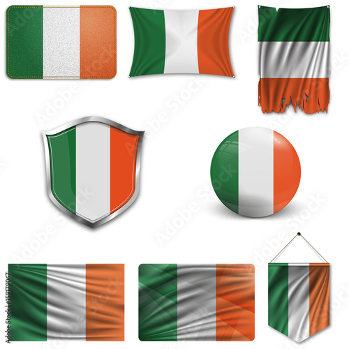 Photo  Set of the national flag of Ireland in different designs on a white background