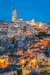 Panoramic night sight in Matera, Basilicata, southern Italy