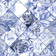 Monochrome Seamless Texture With Blue Floral Patchwork Pattern. Watercolor Painting