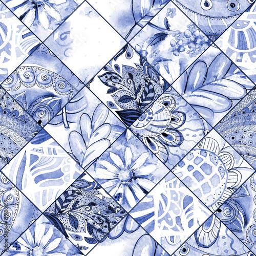 monochromatyczne-powielane-tlo-tekstura-z-niebieskim-wzorem-kwiatowym-patchwork-malarstwo-akwarelowe