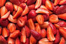 Sliced Fresh Red Ripe Strawberry Background