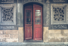 The Red Rustic Door On Balck R...