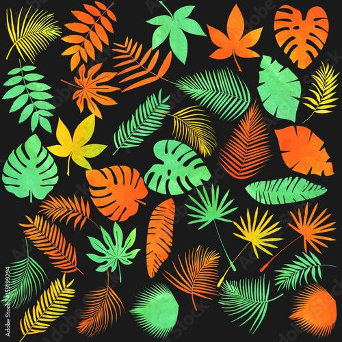 Naklejka - mata magnetyczna na lodówkę Letnie hawajskie liście