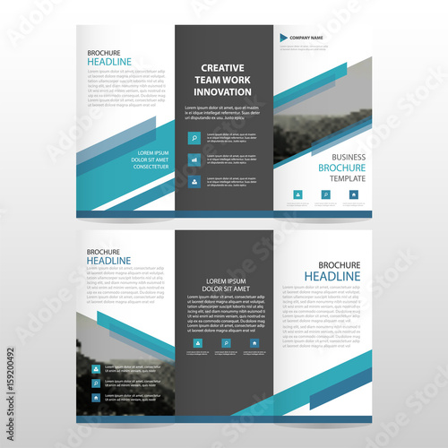 blue triangle business trifold leaflet brochure flyer report
