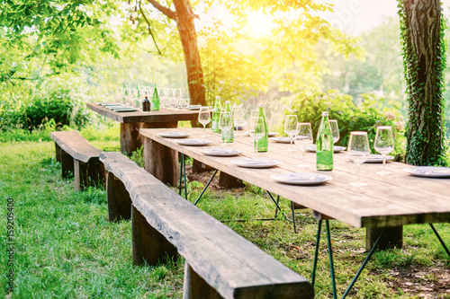 Table is set and waiting for dining in countryside Canvas Print