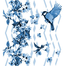 Seamless Watercolor Pattern Cherry Blossom With A Bird On Vertical Zigzag Ornament. Blue Hues On White Background. Textile Print, Wallpaper.