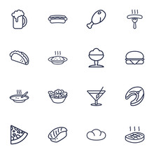 Set Of 16 Dish Outline Icons Set.Collection Of Porridge, Steak, Mexican Food And Other Elements.