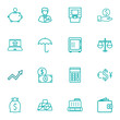 Set Of 16 Budget Outline Icons Set.Collection Of Money Box, Golden Bars, Protect And Other Elements.