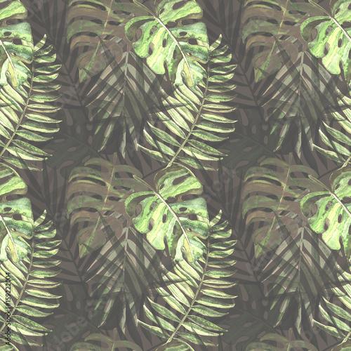 wzor-z-akwarela-tropikalny-lisci