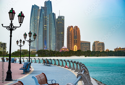 Canvas Prints Abu Dhabi Abu Dhabi promenade at sunrise United Arab Emirates.