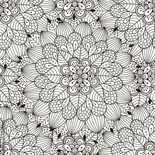 Floral ornament seamless pattern. Coloring page for adults ...