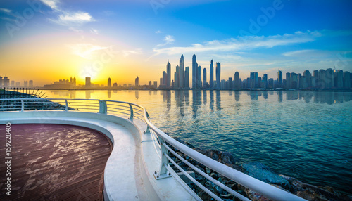 The beauty panorama of skyscrapers in Dubai from promenade at sunrise Canvas Print