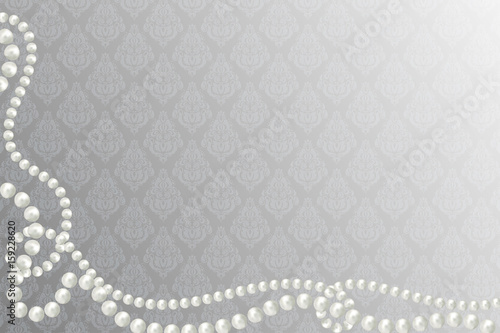 Abstract vector background with beautiful 3D shiny natural white pearl garlands, beads on victorian background Canvas Print