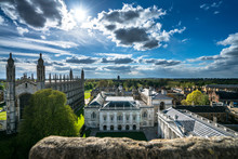 High Angle View Of The City Of Cambridge, UK At Beautiful Sunny Day With Blurry Stone On The Foreground.