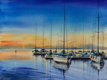 Yacht Harbor At Night.Picture Ctreated With Watercolors.