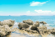 Landscape Of Beach And Sea Wit...