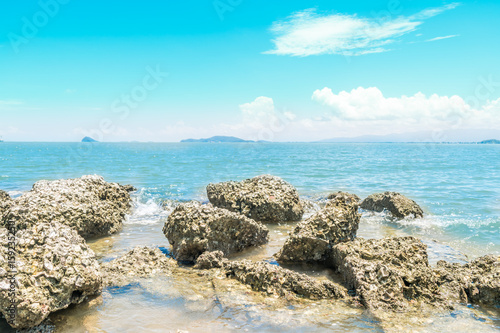 Landscape of beach and sea with reef rock beach
