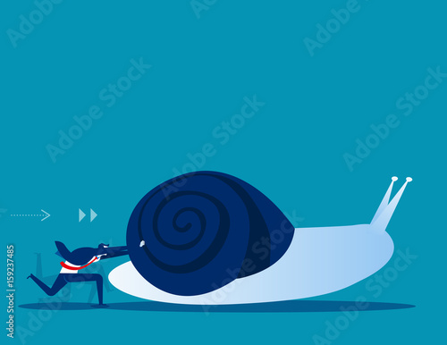 Photo Businessman pushing snail. Concept business vector illustration.