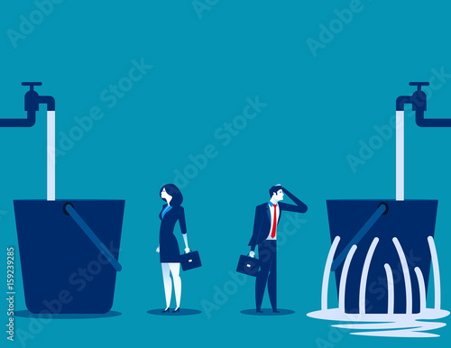 Business people and leaking bucket. Contrast between business. Vector illustration. Wall mural