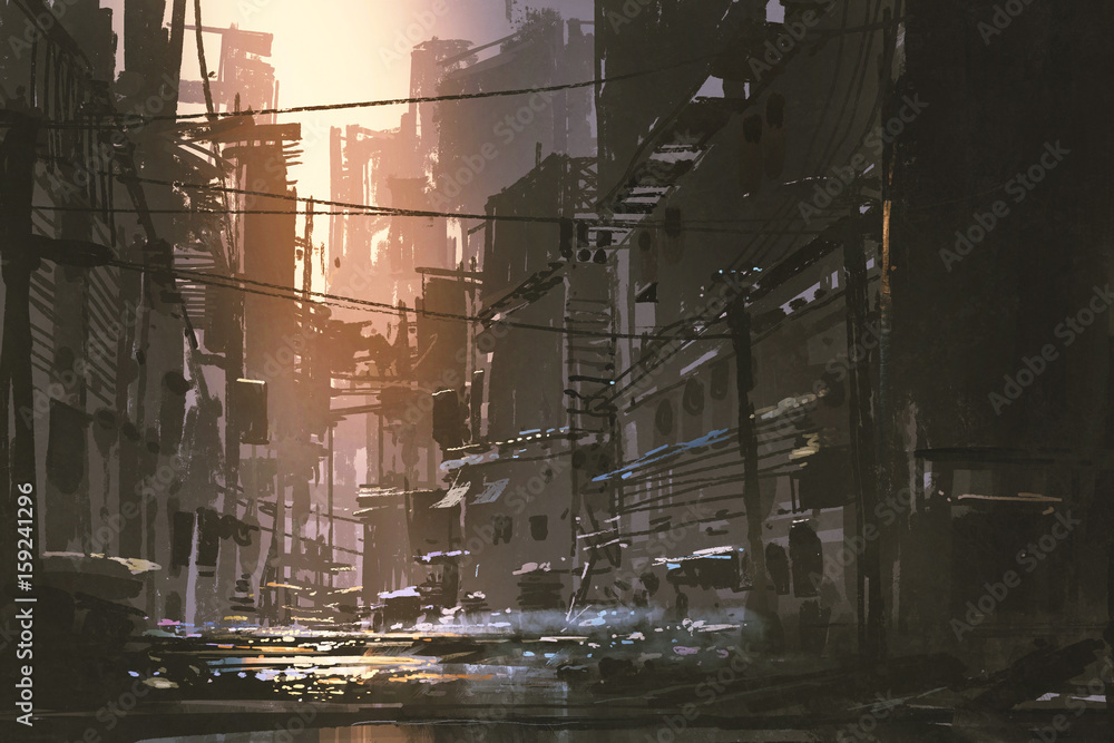Fototapety, obrazy: scenery of dirty street in abandoned city at sunset with digital art style, illustration painting