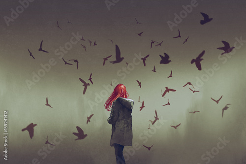 the woman with red hair standing among birds, digital art style, illustration painting