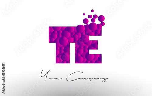 Photo  TE T E Dots Letter Logo with Purple Bubbles Texture.
