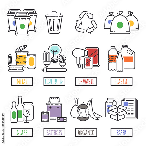 Fotografija  Different recycling garbage waste types sorting processing, treatment remaking trash utilize icons vector illustration
