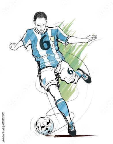 Fotobehang Art Studio Soccer player in action