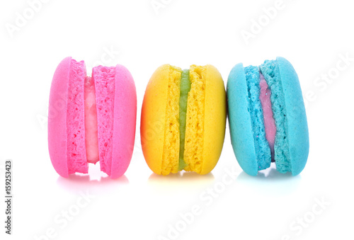 Foto op Canvas Macarons Tasty colorful macaroon on a white background