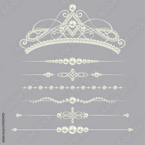 Canvas Print white realistic pearl dividers set collection with diadem isolated on grey background