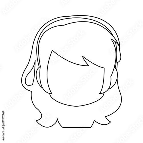 Photo  chibi anime girl avatar contour default vector illustration