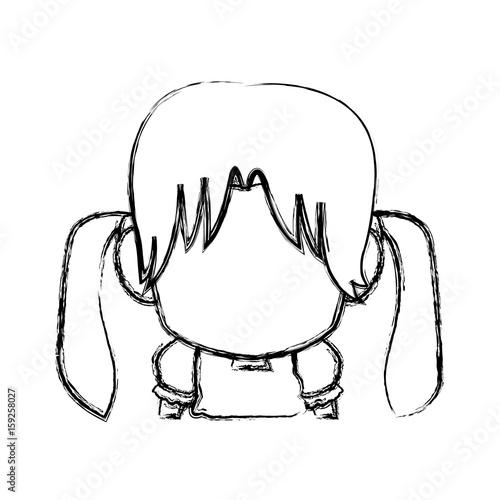 Photo  manga anime girl chibi character contour vector illustration