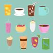 Vector illustration set of drinks in flat cartoon style. Cup of tea, hot chocolate, latte, coffee, smoothie, juice, milk shake, lemonade.