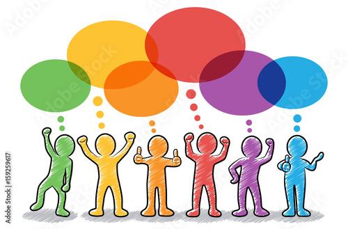 Set: Motivierte und erfolgreiche Strichmännchen mit bunten Sprechblasen / farbig Canvas-taulu